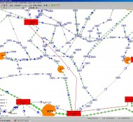 Shows the aggregation of data in a one-line diagram by grouping buses in the single graphic object, the substation.
