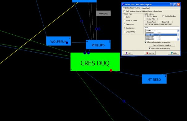 Same Wide Area Substation Diagram, zoomed in to the Cres Duq substation located via the Zoom, Pan, Find dialog.